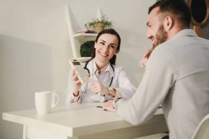 discussing tax deduction for doctors with an accountant